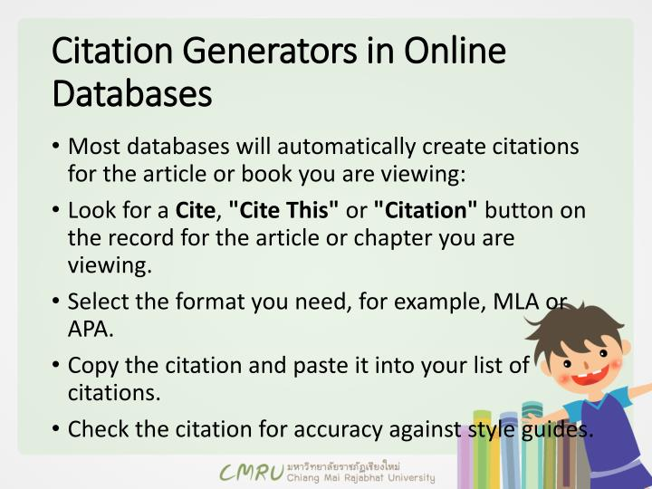 Citation Generators in Online
