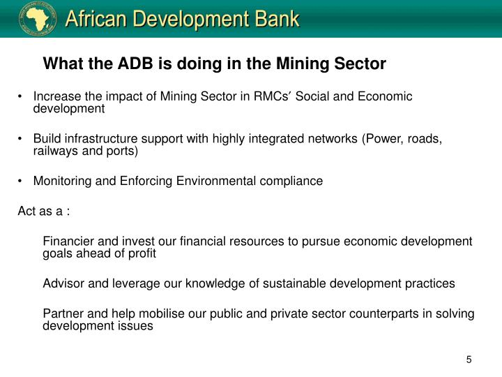 What the ADB is doing in the Mining Sector