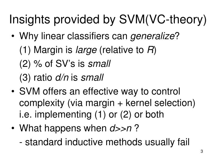Insights provided by svm vc theory