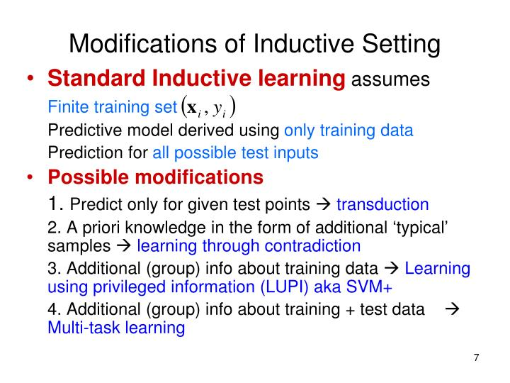 Modifications of Inductive Setting