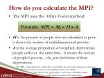how do you calculate the mpi