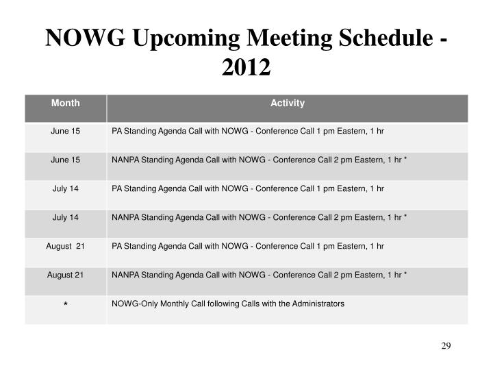 NOWG Upcoming Meeting Schedule - 2012