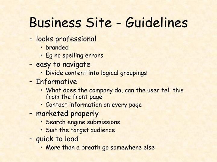 Business site guidelines