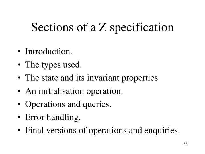 Sections of a Z specification