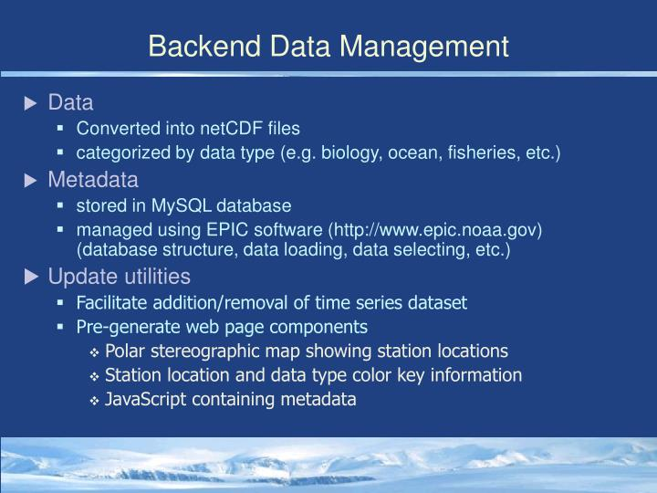 Backend Data Management