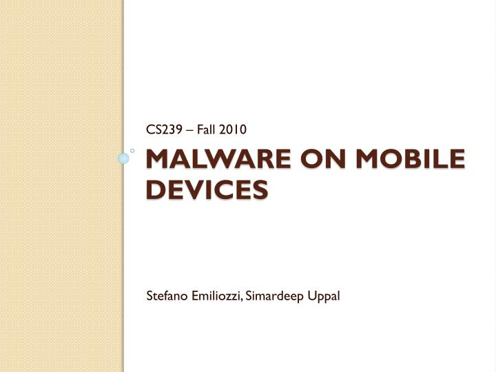 malware on mobile devices n.