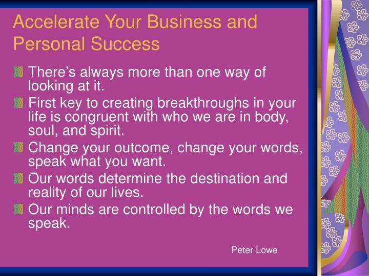 Accelerate Your Business and Personal Success