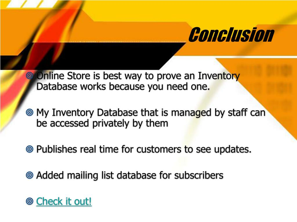 PPT - Designing an Inventory Database System PowerPoint