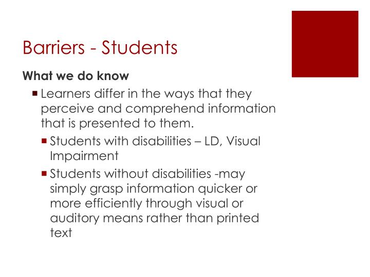 Barriers - Students