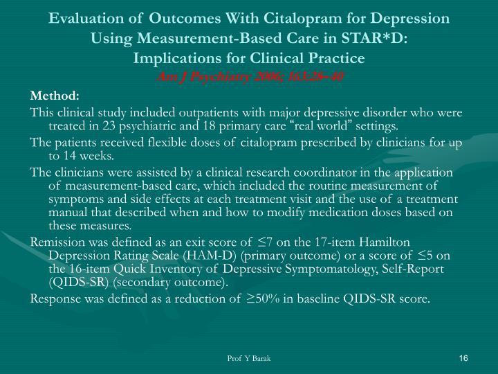 Evaluation of Outcomes With Citalopram for Depression