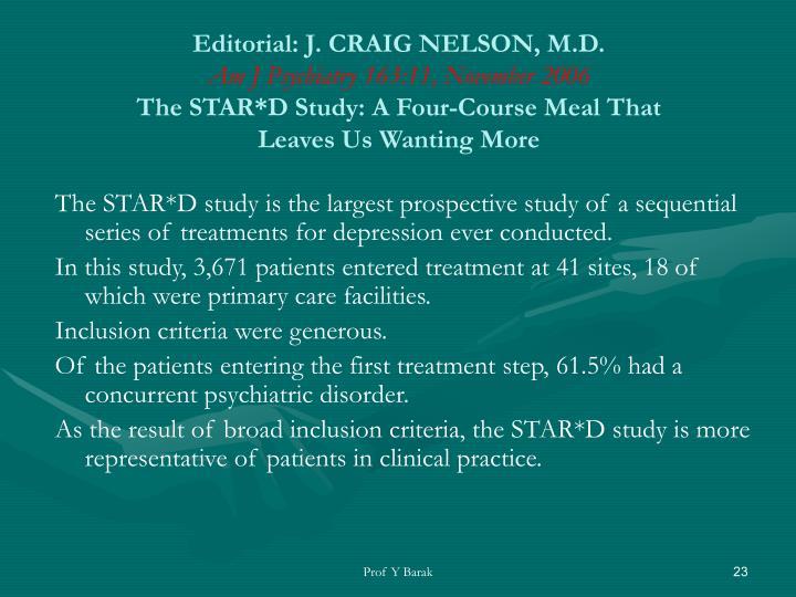 Editorial: J. CRAIG NELSON, M.D.