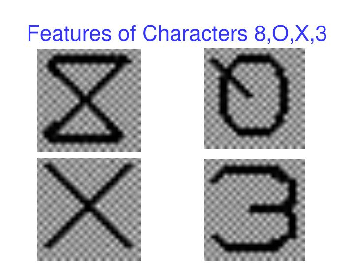 Features of Characters 8,O,X,3