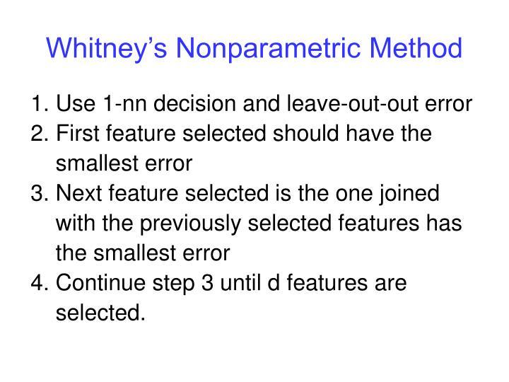 Whitney s nonparametric method