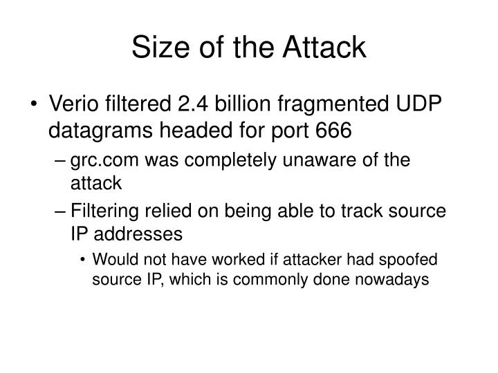 Size of the Attack