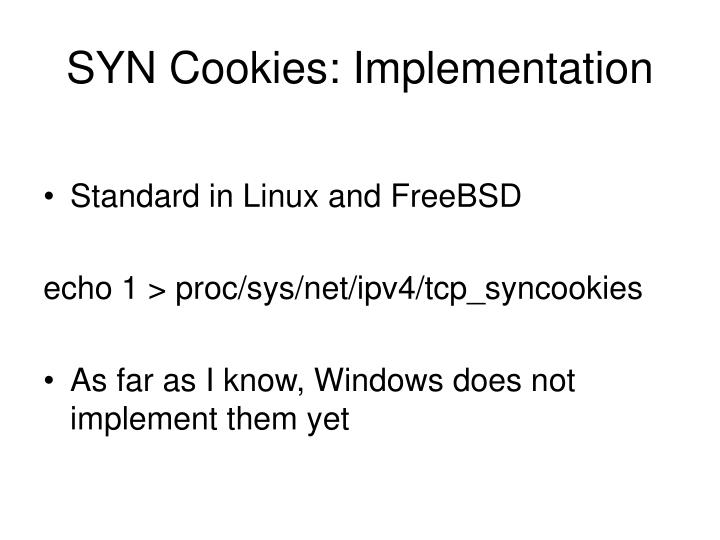 SYN Cookies: Implementation