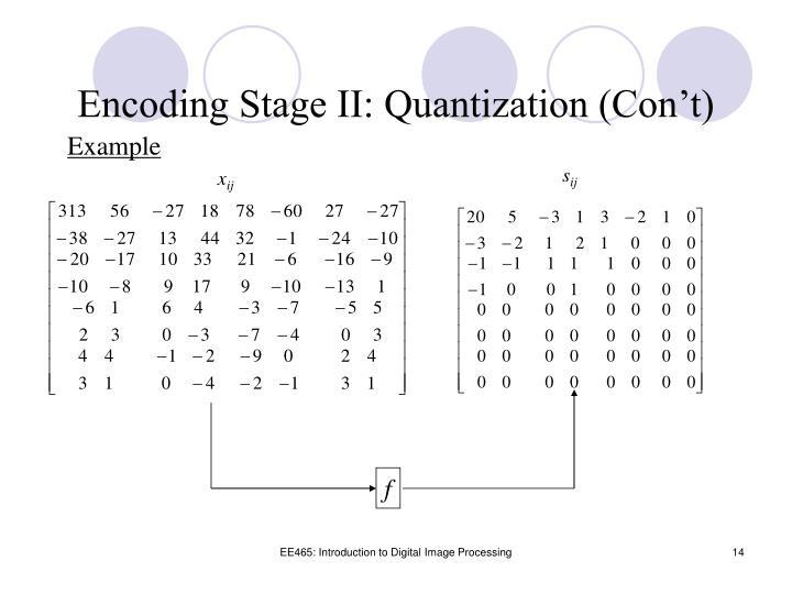 Encoding Stage II: Quantization (Con't)