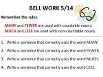 bell work 5 14