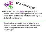 bell work 5 16
