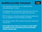 qualified provider framework