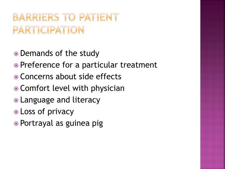 Barriers to Patient Participation