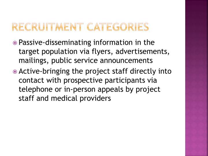 Recruitment Categories