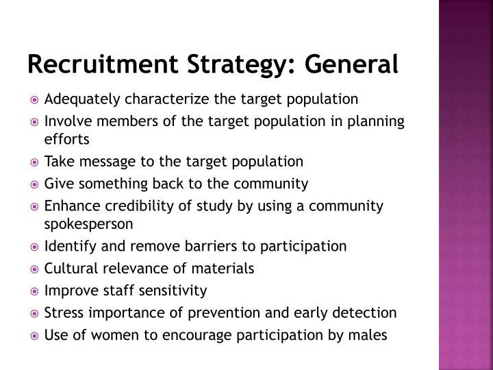 Recruitment Strategy: General