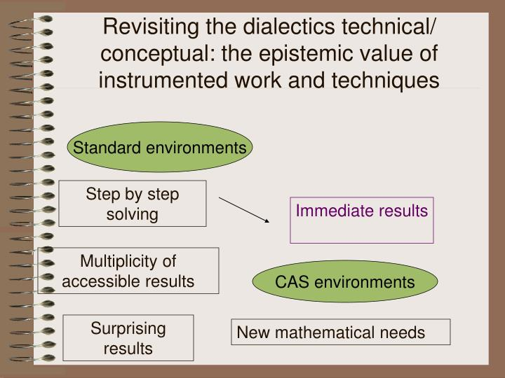 Revisiting the dialectics technical/ conceptual: the epistemic value of instrumented work and techniques