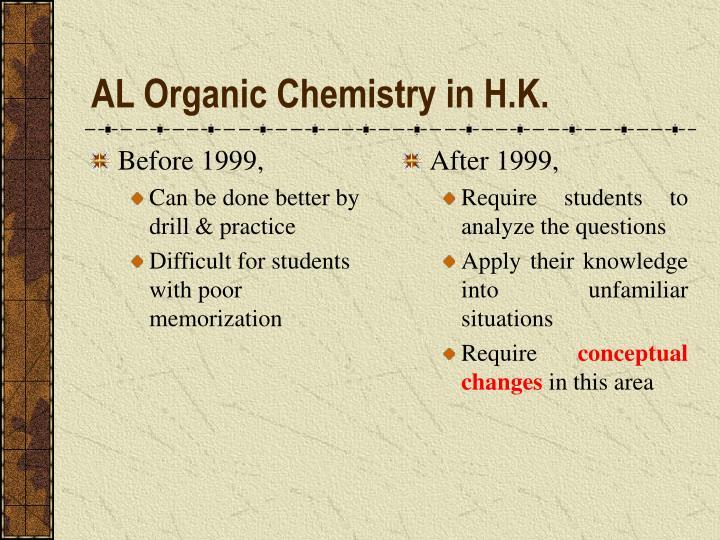 Al organic chemistry in h k