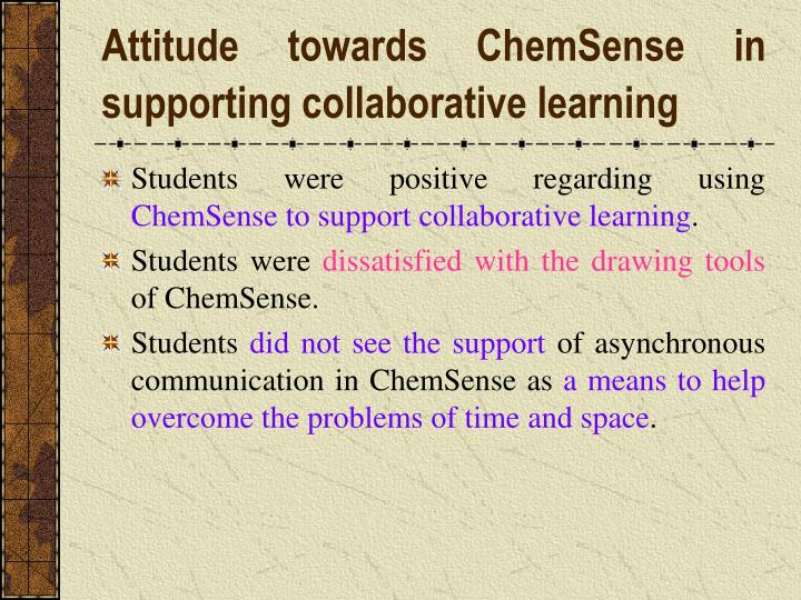 Attitude towards ChemSense in supporting collaborative learning