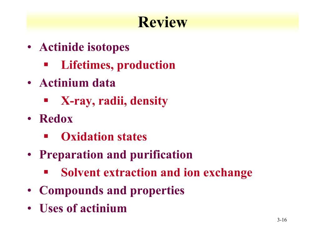 PPT - Lecture 3: Actinium Chemistry PowerPoint Presentation