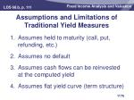 assumptions and limitations of traditional yield measures
