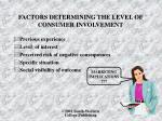 factors determining the level of consumer involvement