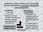 individual influences on consumer buying decisions learning benefits and attitudes