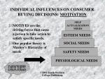 individual influences on consumer buying decisions motivation
