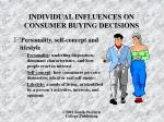 individual influences on consumer buying decisions1