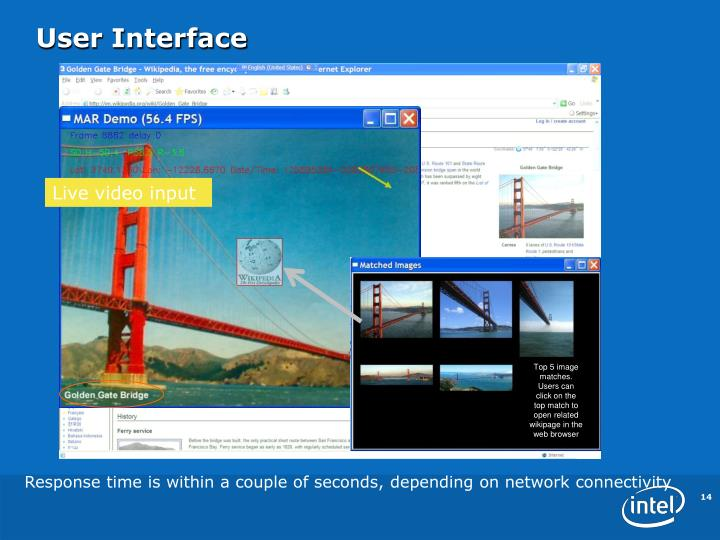 Top 5 image matches. Users can click on the top match to open related wikipage in the web browser