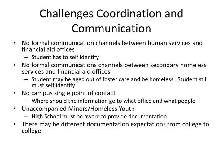 Challenges Coordination and Communication