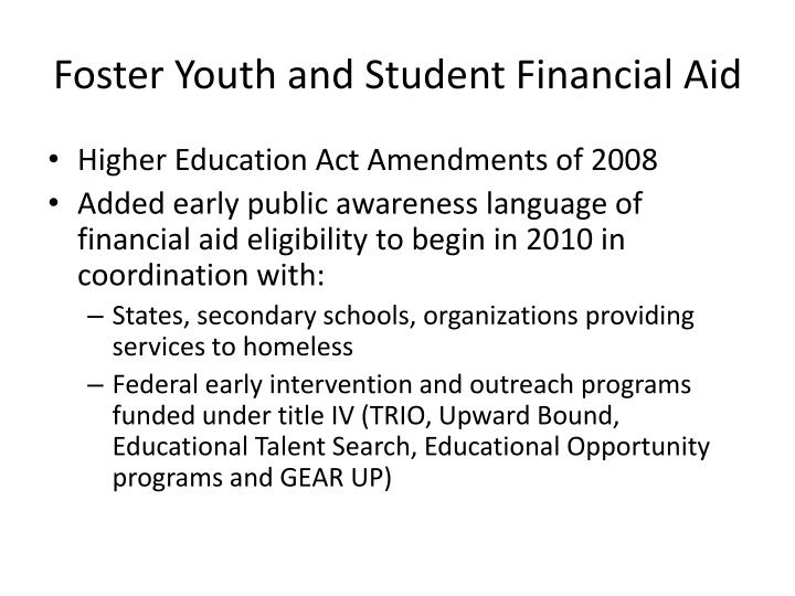Foster Youth and Student Financial Aid