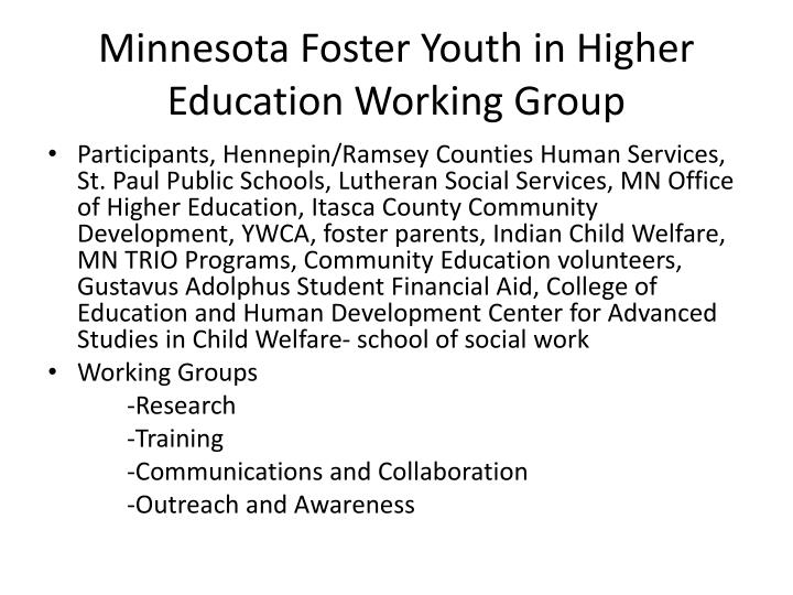 Minnesota Foster Youth in Higher Education Working Group