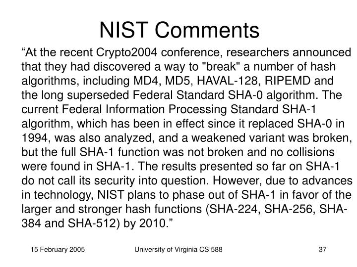 NIST Comments