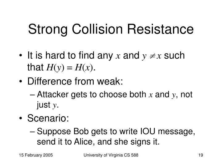 Strong Collision Resistance