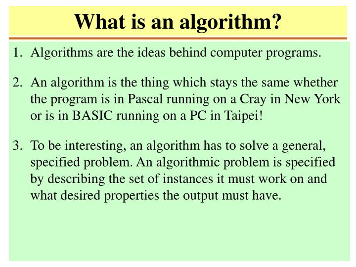 what is an algorithm n.