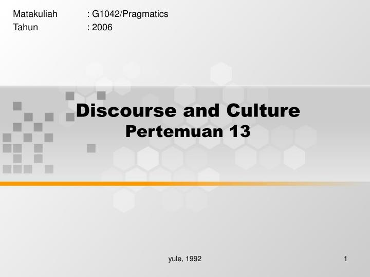 discourse and culture pertemuan 13 n.