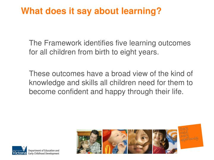 What does it say about learning?