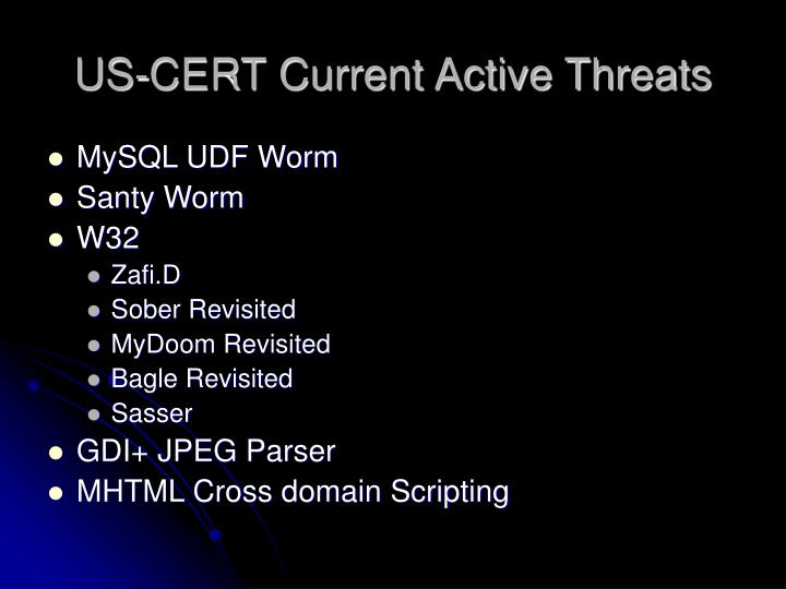 US-CERT Current Active Threats