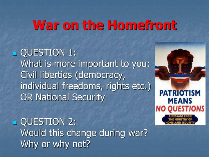 war on the homefront n.