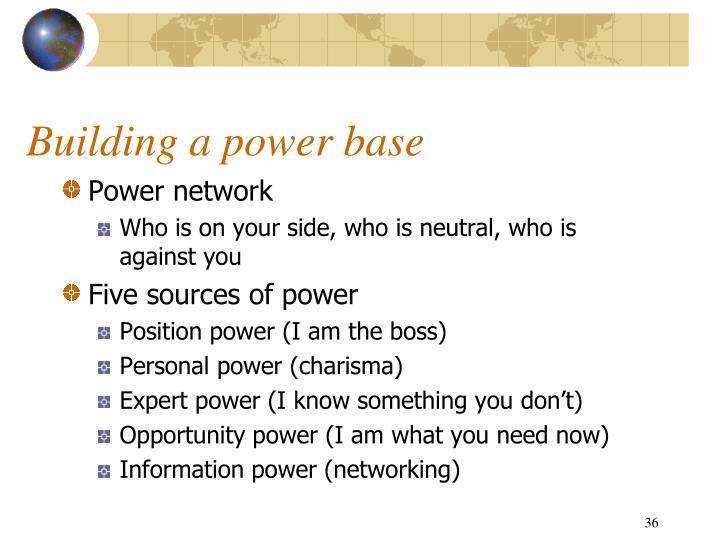 Building a power base