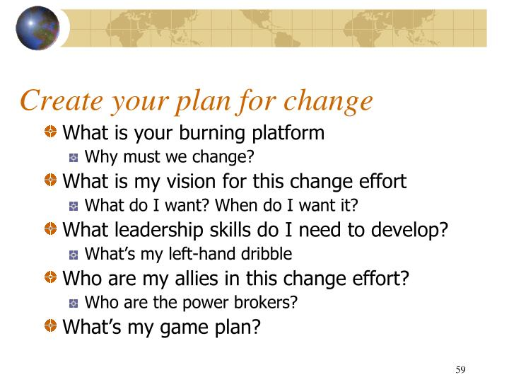Create your plan for change
