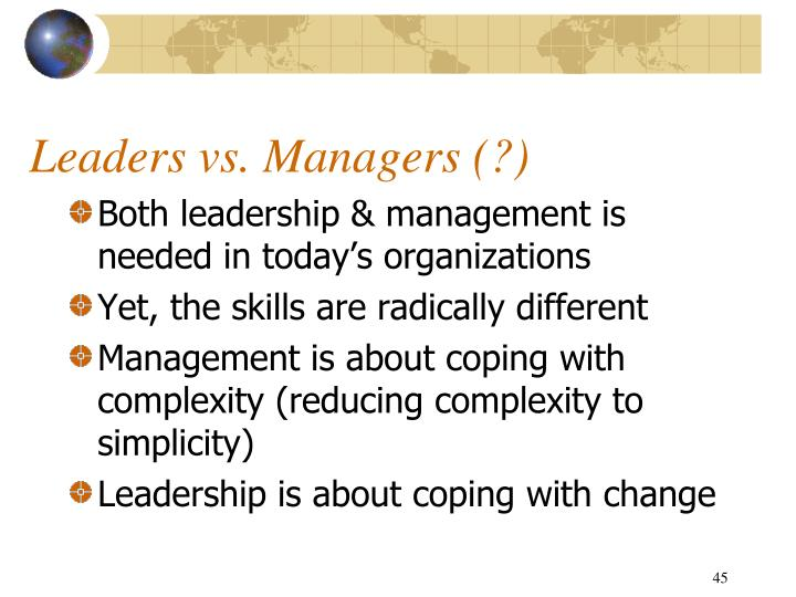 Leaders vs. Managers (?)