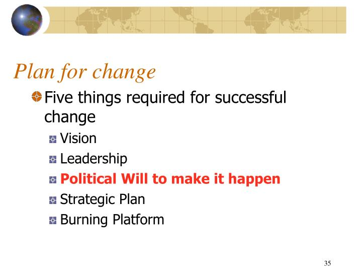 Plan for change